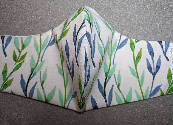 Blue Green and white vine print Face mask