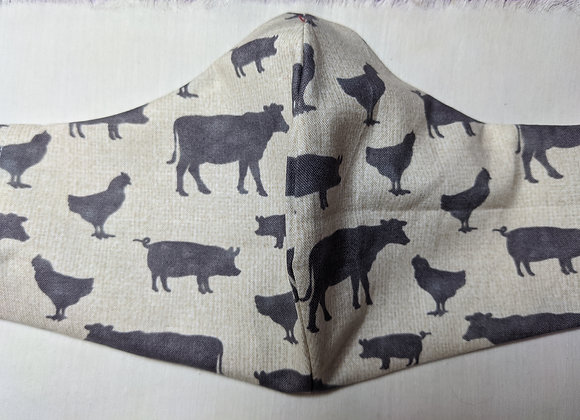 Farm Animals grey on cream pattern face mask