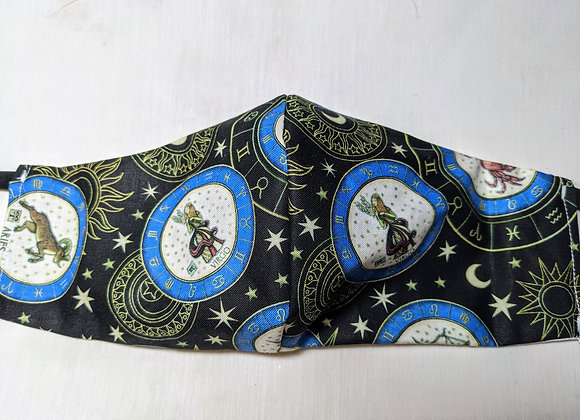 astrology zodiac blue and white on black face mask