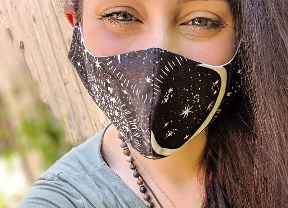 Stars and Moons Face Mask Model Front