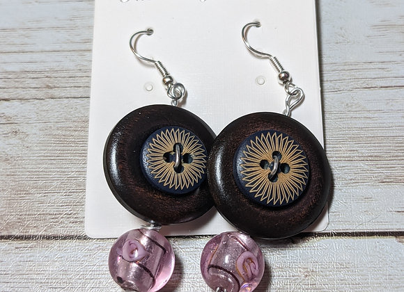 Glass and wood earrings pink