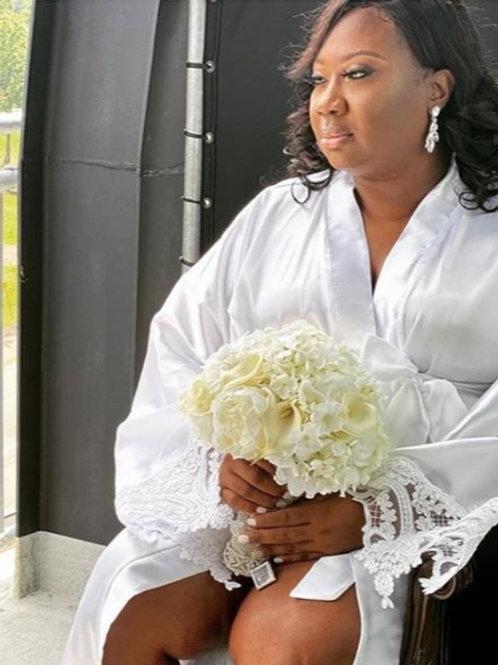 Long Satin Robe Lace Trim
