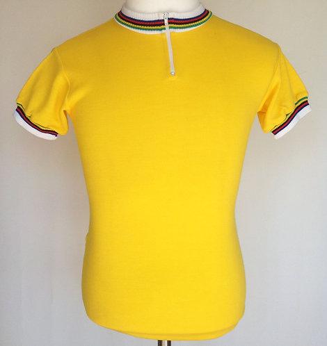 Maillot cycliste jaune vintage Champion du Monde