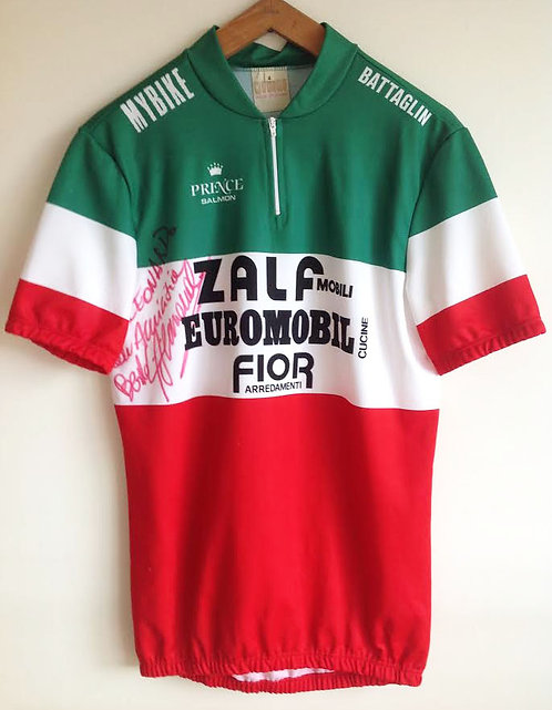Maillot cycliste vintage Zalf Euromobil Fior - dédicacé