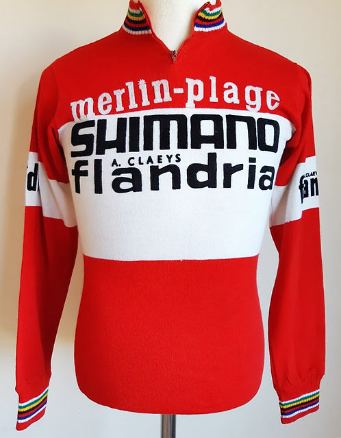 Maillot cycliste Merlin Plage Shimano Flandria 1974