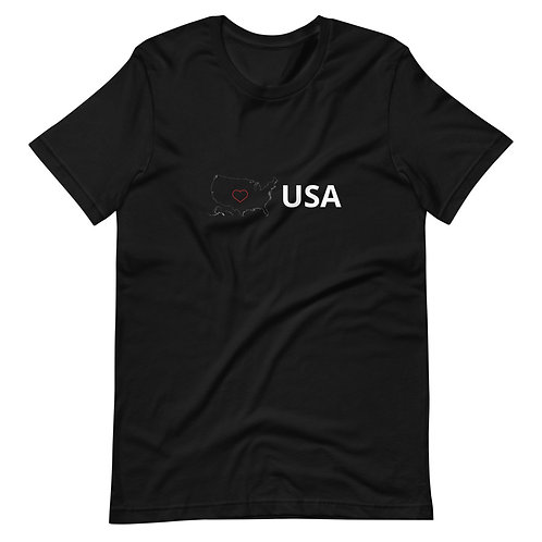 USA Love Red Heart dark colors Short-Sleeve Unisex T-Shirts