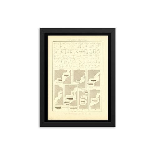 Trace Geometrique des moulures et profils divers Framed poster