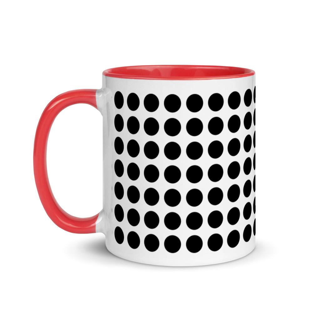 Red-black dot mug