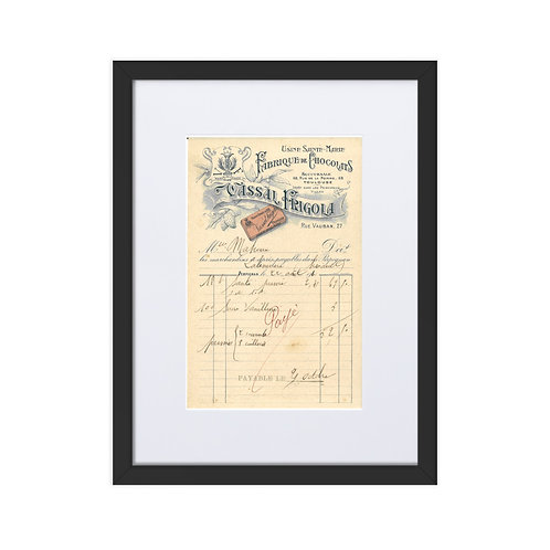 French - Invoice 1914 Chocolaterie Fabrique De Chocolats Framed