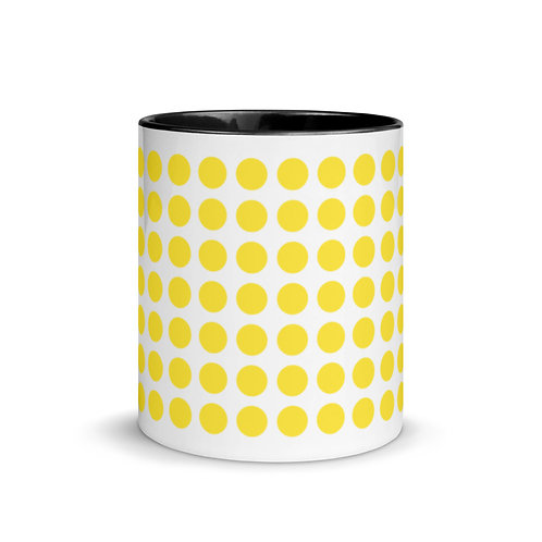 Yellow Dot Mug with Color Inside Ceramic