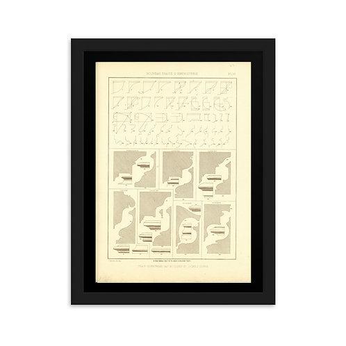 Trace Geometrique des moulures et profils divers Framed on matte paper