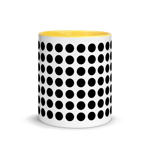 Black Dot Mug with Color Inside Ceramic