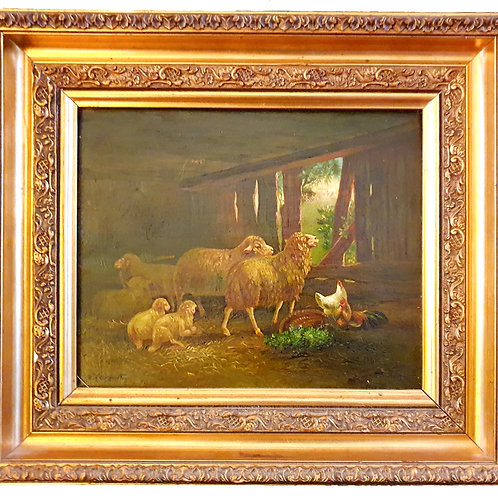 Painting with sheep in gilded frame.