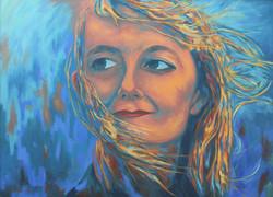 Une femme dans le vent 73 x 100 cm