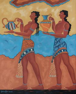 Les porteurs d'eau de Knossos 100 x 81 cm