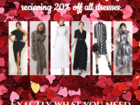 SALE on Dresses and Lingerie until end of February! We'll have you ready for your next event.