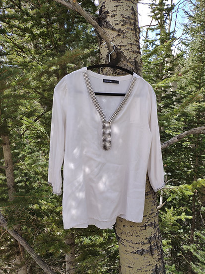 IVORY 3/4 SLEEVE BLING TOP