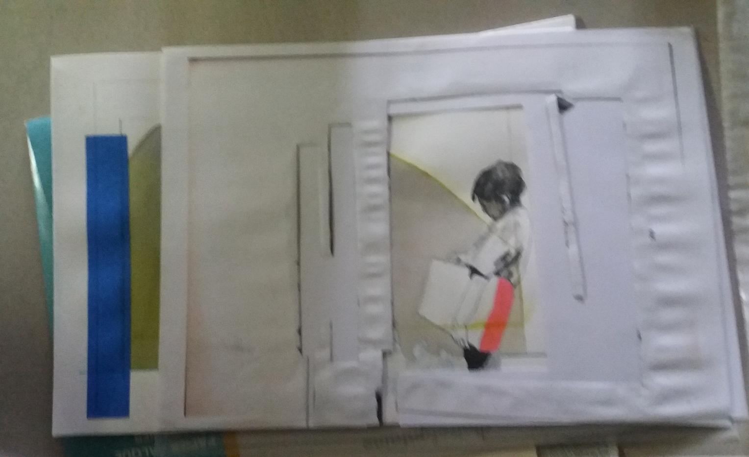 Collage enfant paquet, Série Au Milieu d
