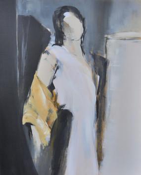 femme au miroir noir et blc