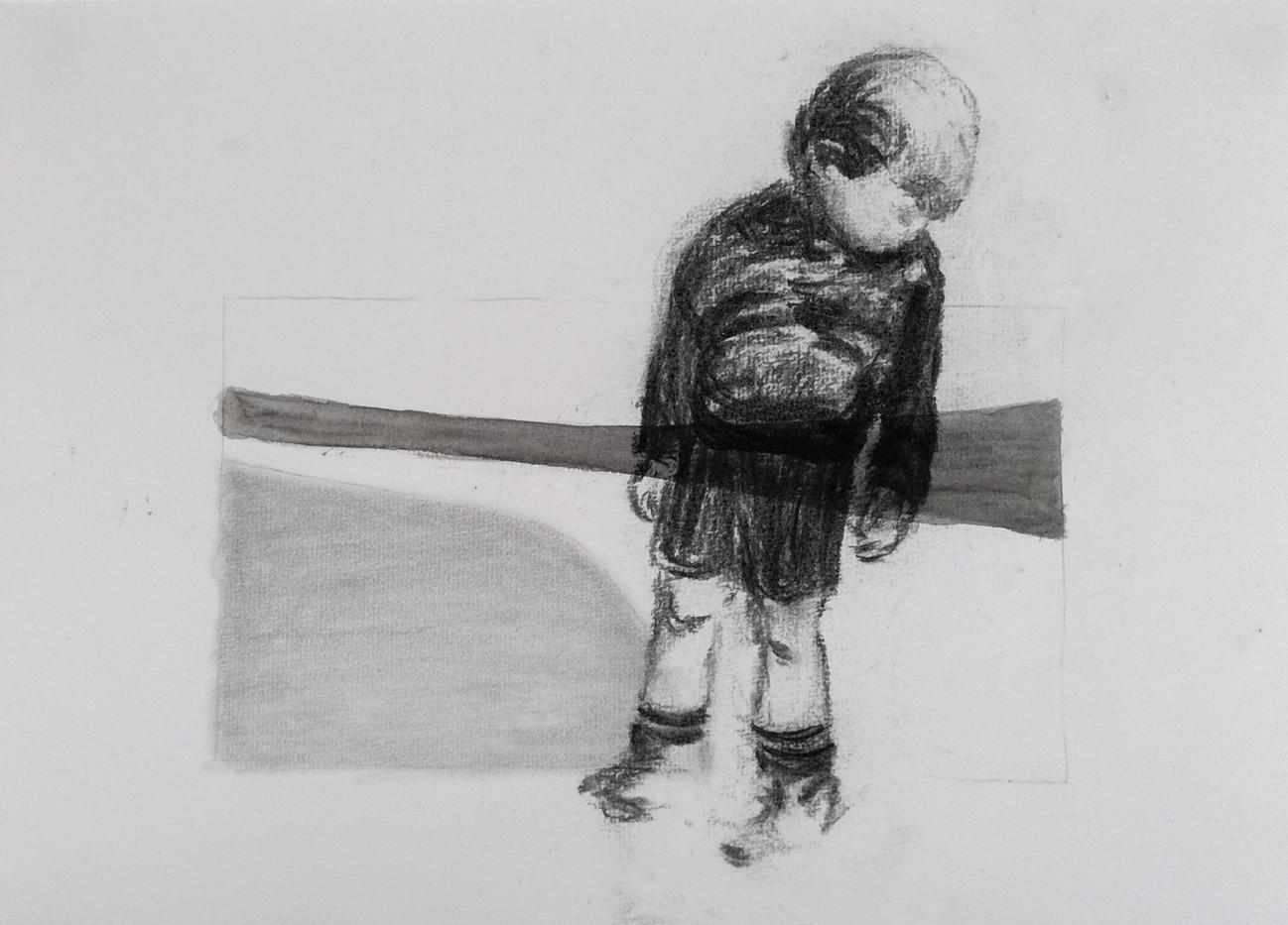 Enfant fusain sur formes, Série Au Milie