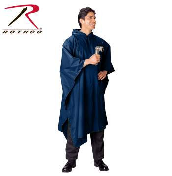 Rothco G.I. Type Military Rip-Stop Poncho Navy Blue