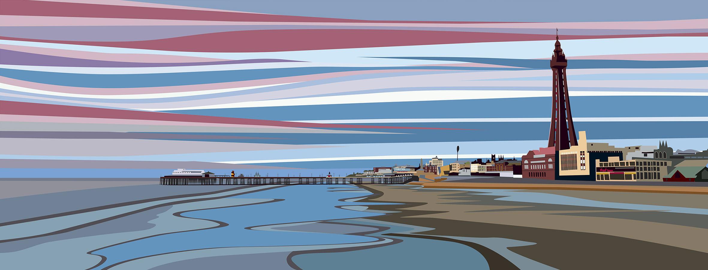 Evening Sky over Blackpool Beach. 2020