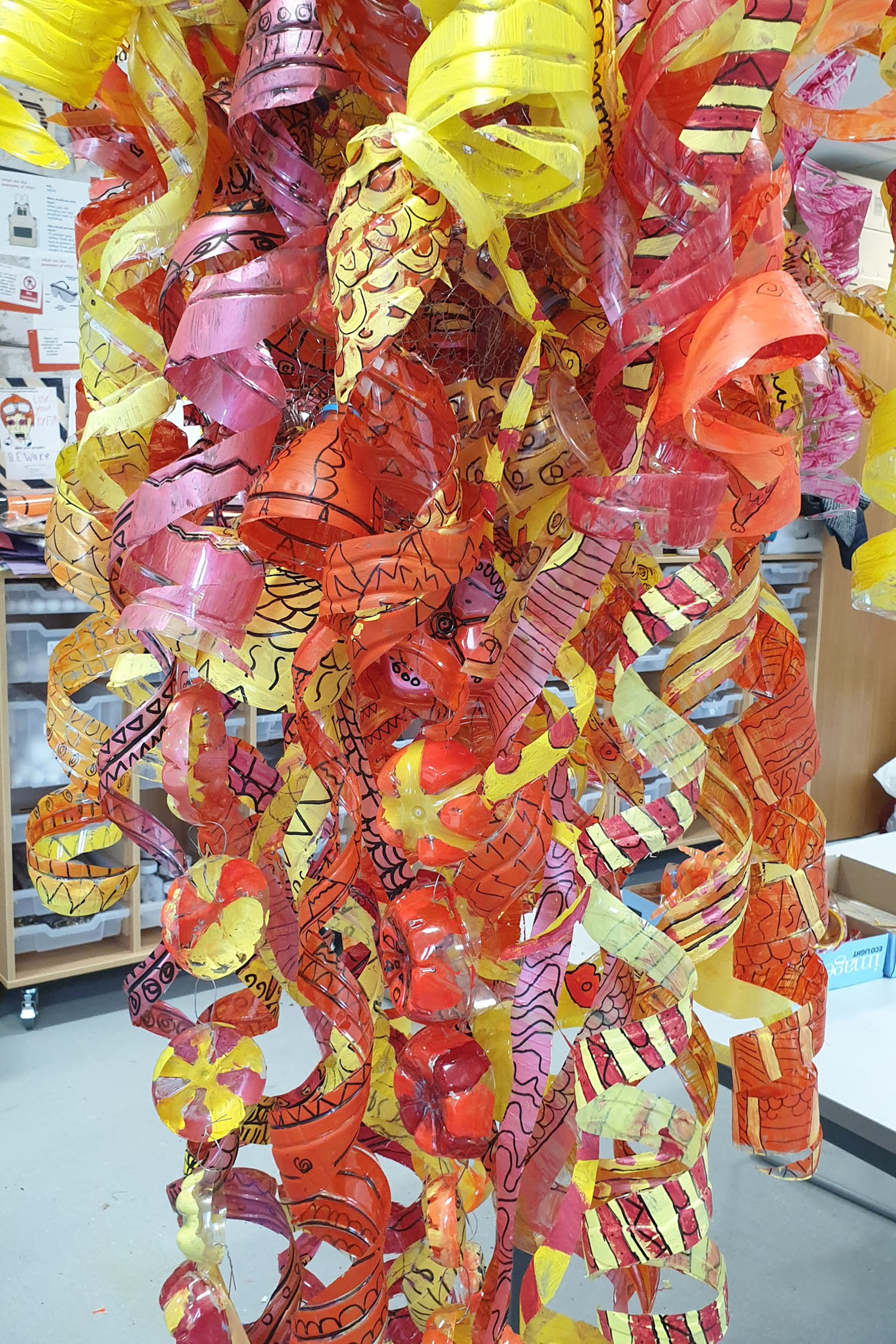 Putney High School / Recycled Bottle Sculptures for Entrance Area