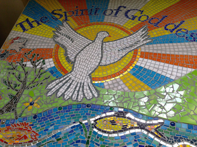 Mosaic created by Aldersbrook Church community.