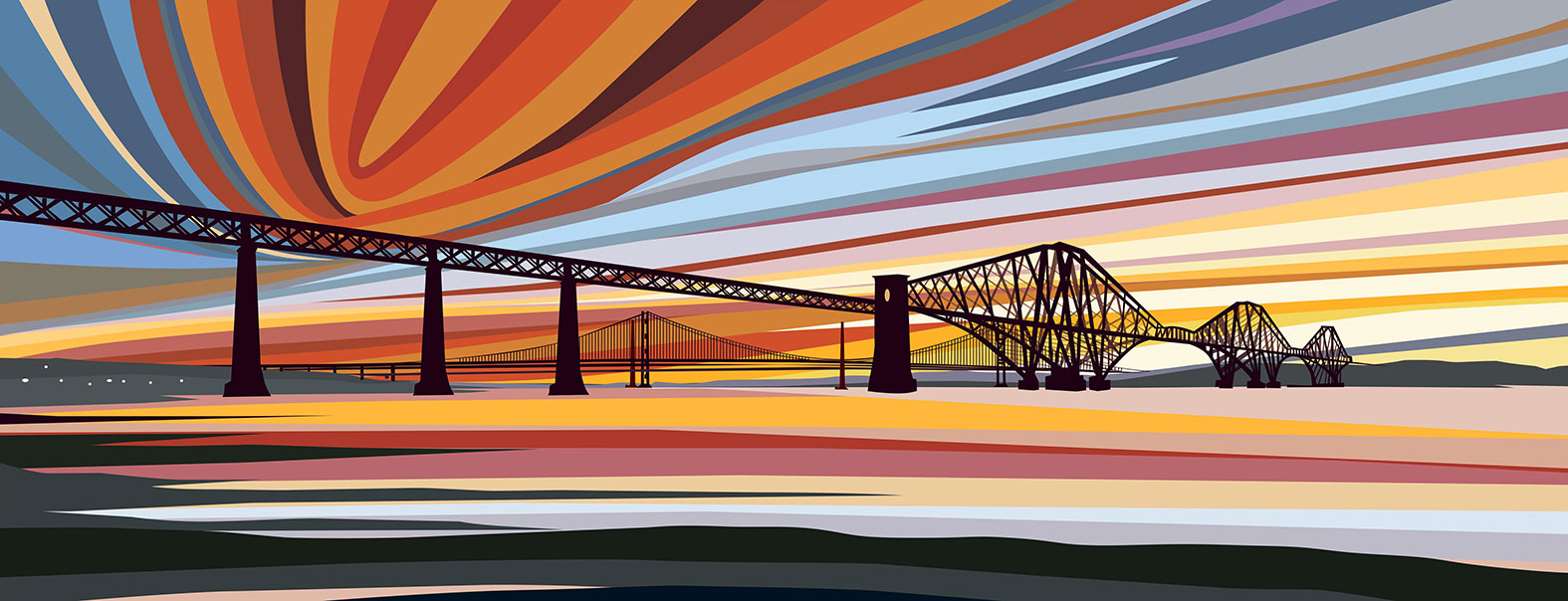 Sunset over Bridges, South Queensferry, Edinburgh. 2020