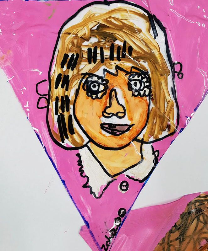 Plaistow Primary School/ Year 1 Self portraits on Perspex