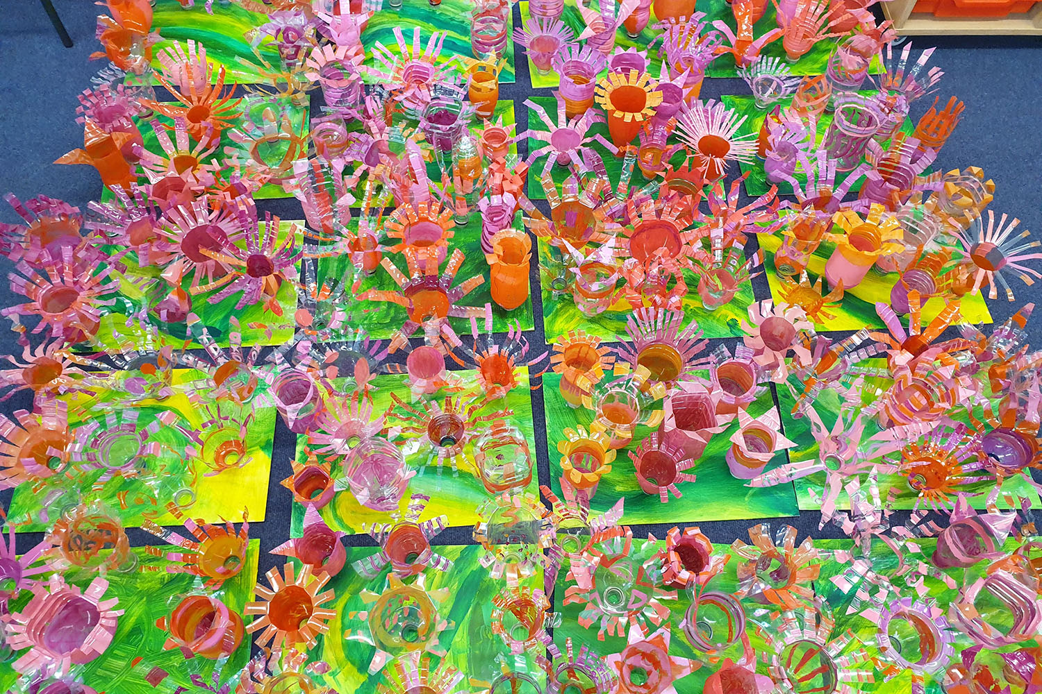 Sutton High School/ Collaborative Recycled Flowers Panels with Year 5