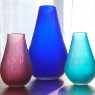Medium Cobalt Drizzle, Rose and Teal Drizzle Vases