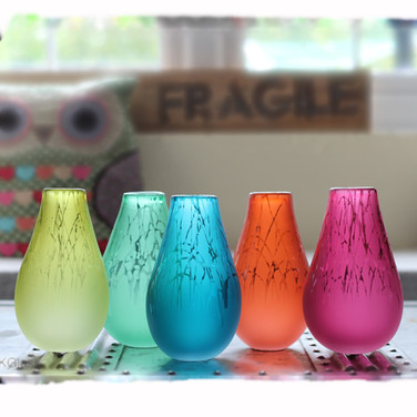 Olive, Steel Blue, Fuchsua and Mint Drizzle Vases
