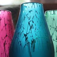 Steel Blue, Fuchsia and Mint Drizzle Vases