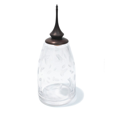 Clear Battuto Dash Eryngii Jar with Blackened Burnt Cherry Lid