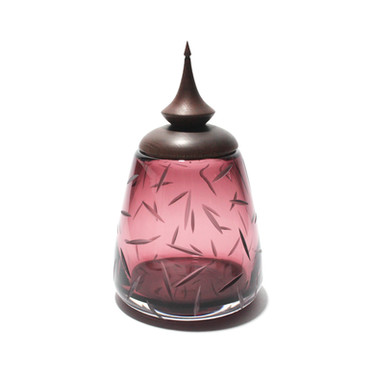 Burgundy Mitre Dash Eryngii Jar with a Dyed Ash Lid