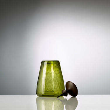 Olive Battuto Cascade Eryngii Jar with a Dyed Ash Lid