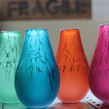 Steel Blue, Fuchsia, Peach and Mint Drizzle Vases