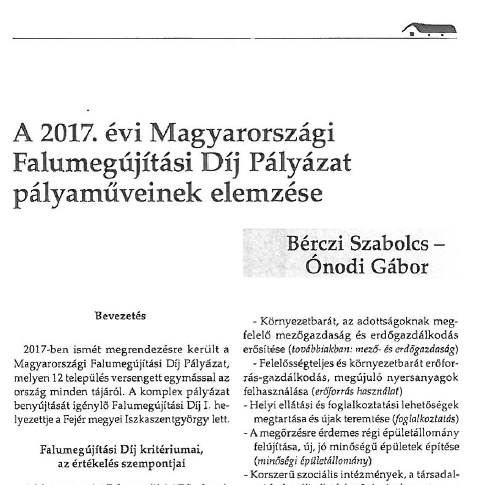 A Falu - Falumegújítási díj pályázat pályaműveinek elemzése (2017)