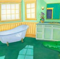 お風呂場のワニ
