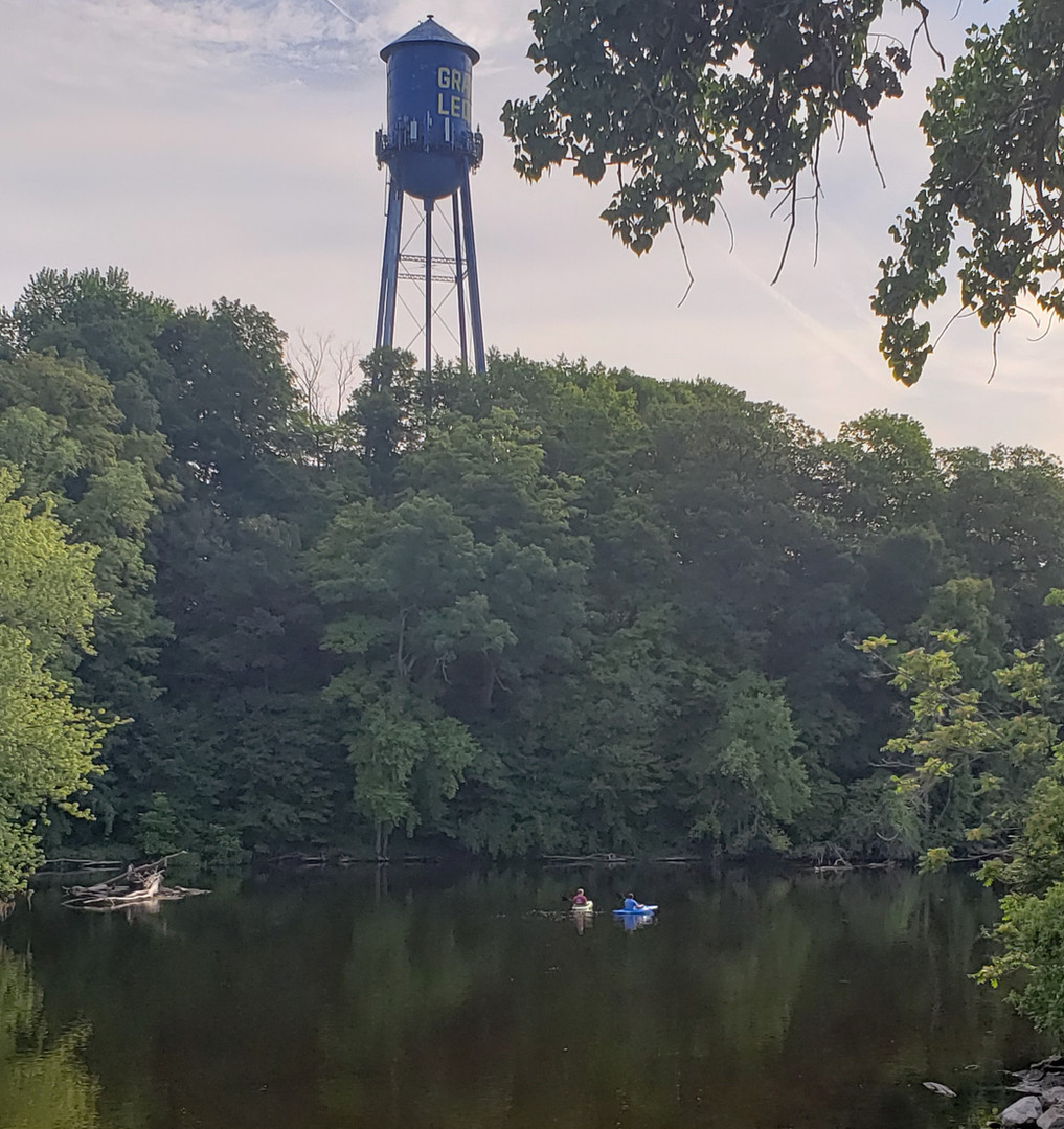 Grand Ledge water tower and kayakers.jpg