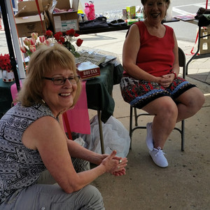 Lynne Tinkham and Anne - fundraising sal