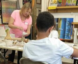 Tam's clay sculpture class