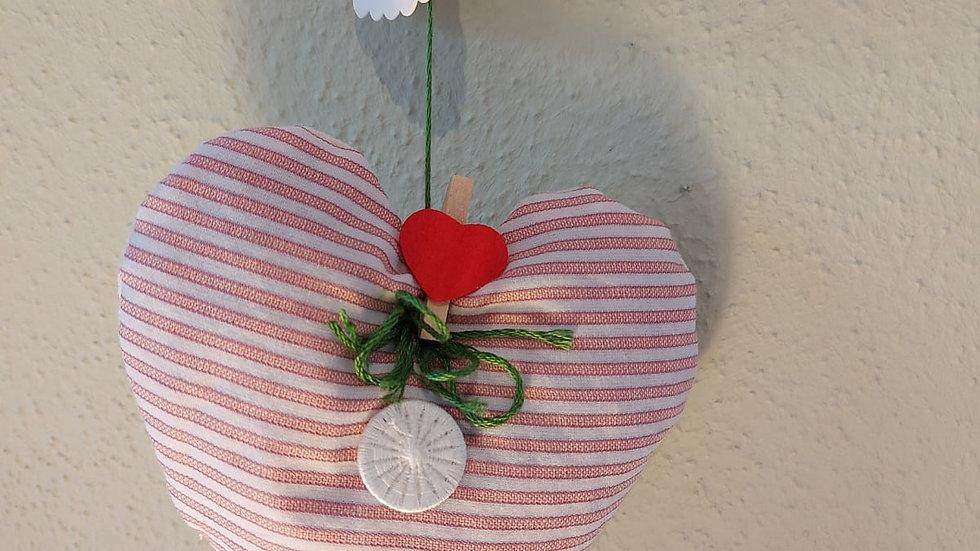 Kräuter-Herz handgenäht, mit Rosenblüten gefüllt, Modell 2