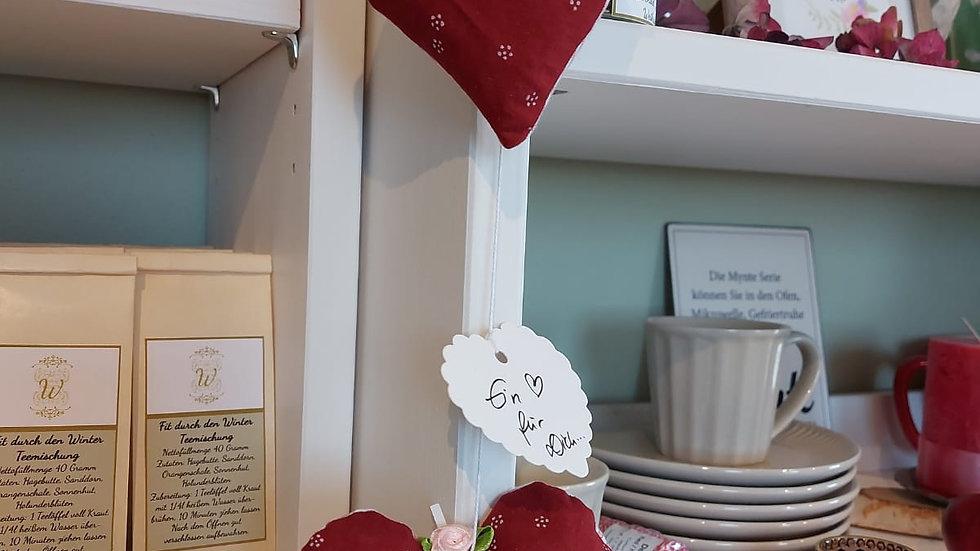 Kräuter-Herz handgenäht, mit Rosenblüten gefüllt