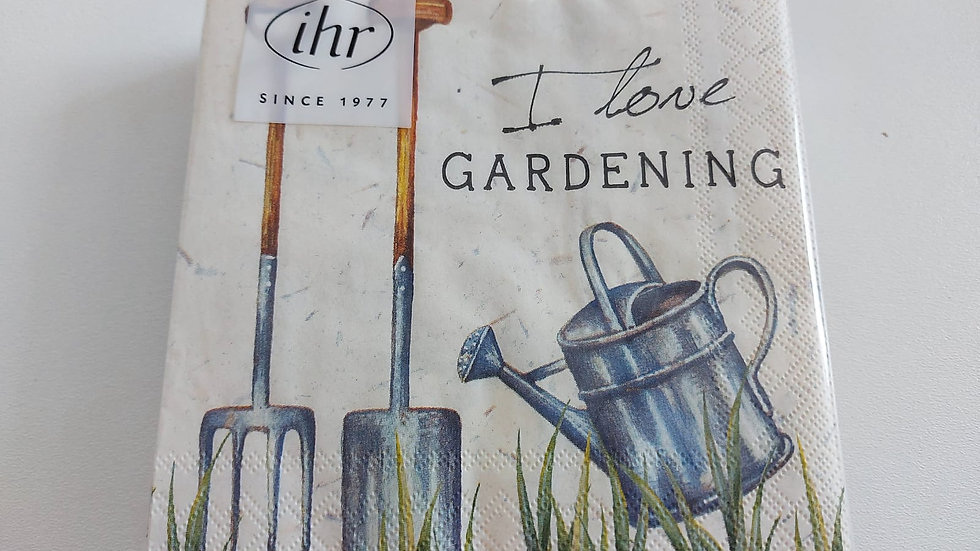 """Serviette 33x33cm """"I love gardening"""""""