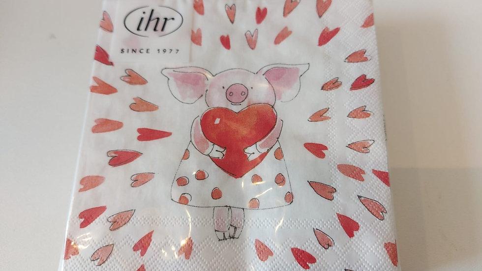 """Serviette """"Piggy in Love"""""""