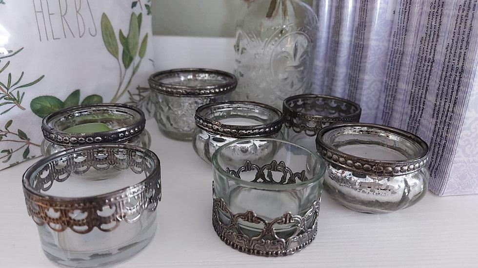 Teelichthalter Zinn-Glas