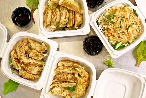 Assorted Dumplings with Asian Noodles Salad