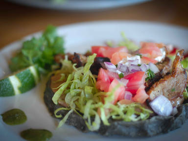 Blue Corn Sopes at Tuyas in Ferndale California